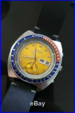 Vintage Seiko 6139 Pogue Chrono Pepsi Dial Automatic Pilots Man's Watch