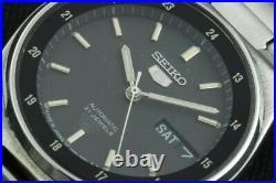 Vintage Seiko Black railway time 7s26 automatic Japan working wrist watch 36mm