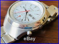 Vintage Seiko Chronograph 6139-7080 Automatic Watch All White Dial Japan