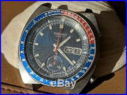 Vintage Seiko Pogue 6139-6005 Chronograph withMint Blue Dial, Divers All SS Case