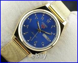 Vintage Seiko golden blue arabic 6309 automatic Japan working wrist watch 37.5mm