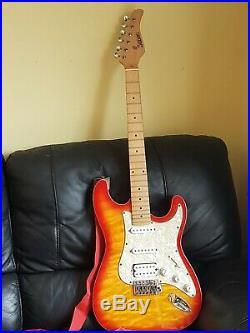 Vintage Sunburst Kisu Suzuki Japan Electric Guitar Red