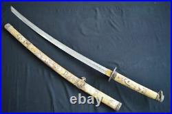 Vintage Sword Japanese Samurai Katana Sharpen Blade Steel With Sheath Hand Made