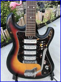 Vintage Teisco WG-4L 1965 Natural M hogany Four Pickup Guitar Project