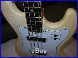 Vintage Tele-Star Teisco Bass Guitar Olympic Wht. W' Ashtray all Original Japan