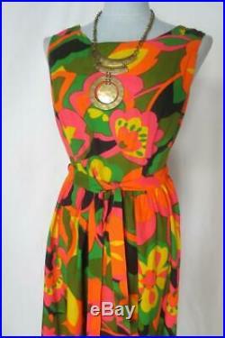 WiLd 70's Mod Floral Op Art Palazzo Jumpsuit Don Caporeli of California Size 12
